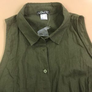 NWOT top sleeveless green linen cotton blend sz M